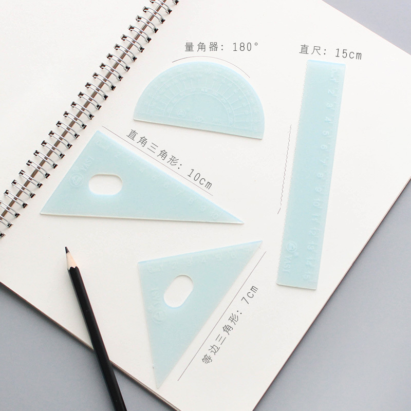 Han Ju Rulers Set Simple Macarons Students Exam Transparent Ruler Sets Ruler Triangle Ruler + Protractor 4 Pieces In A Set