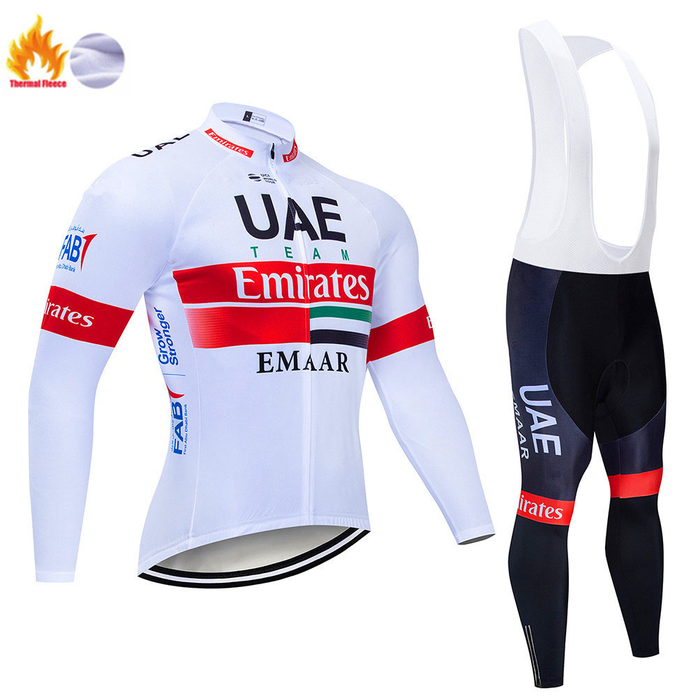 2019 Winter Women Cycling Thermal Fleece Jersey Bib Pants Set Team Bike Clothing