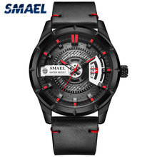 SMAEL Sport Black Mens Quartz Watches Top Brand Luxury Watch Men Fashion Steel Waterproof Leather Strap