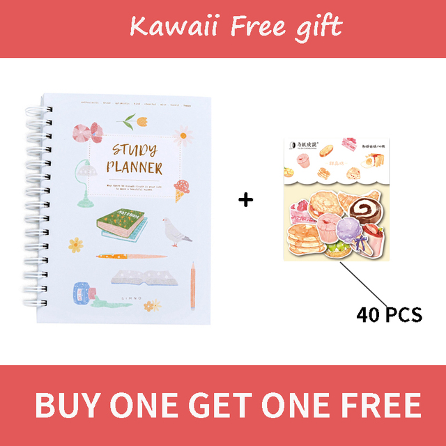 2020 Planner Coil NoteBook A5 Kawaii Palnner Book Bullet Journal Diary Annual Month Week Plan Cartoon Flower Journal Notebook 2