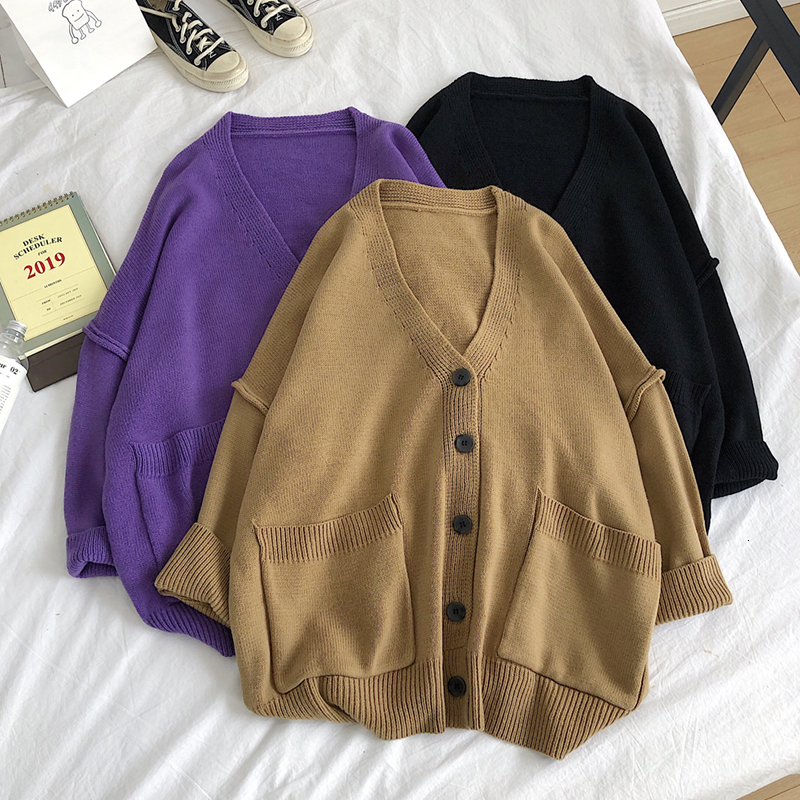 Winter Cardigan Men Fashion Solid Color Casual V-neck Knit Sweater Jacket Men Streetwear Loose Long Sleeve Sweater Sweter Coat