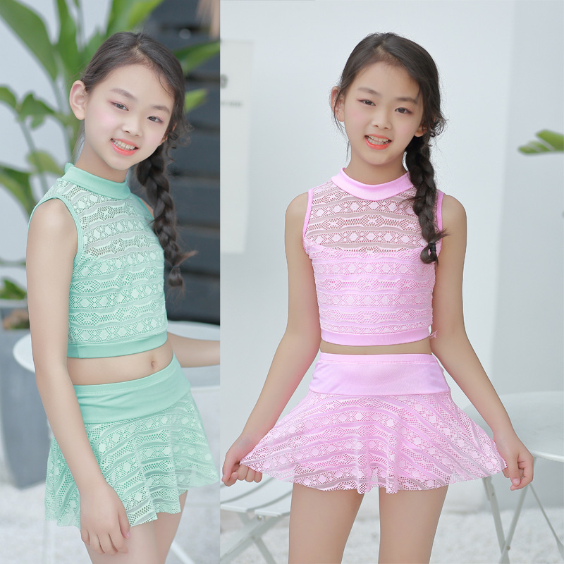 Children's Swimwear Korean-style Girls Small Children Cute Little Girl Princess Split Skirt Swimdress 8-12-Year-Old
