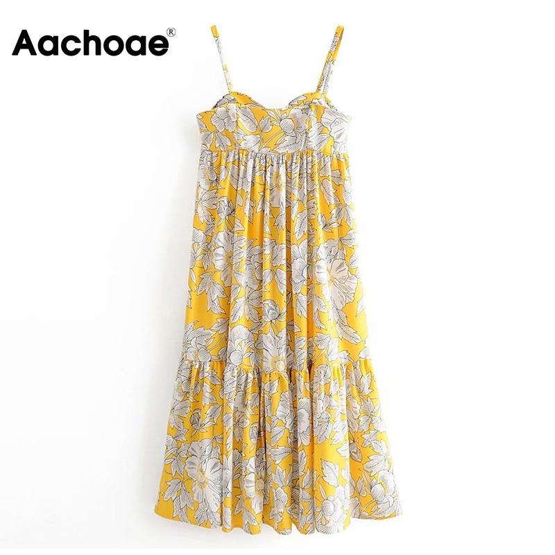 Aachoae Women Floral Print Spaghetti Strap Beach Dress 2020 Summer Boho Long Midi Dress Sexy Elegant Sundress Vestidos De Fiesta