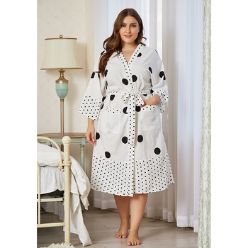 Pregnant Women Nightwear Dots Printed Pregnancy Sleepwear Maternity Breastfeeding Robe With Sashes Extra Large Pyjama Premama 1
