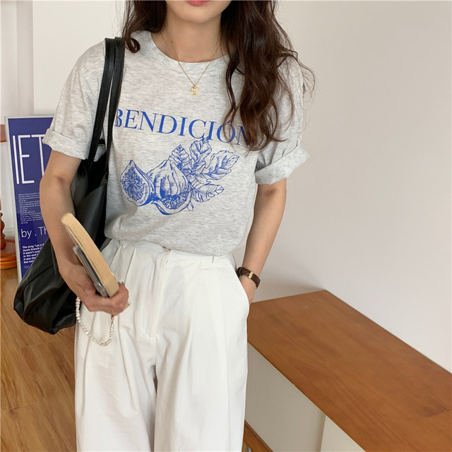 Korean Style Causal Vintage Gray Letters Printed Loose Simple Short Sleeve Women Top 2021 Summer New T-shirts 2