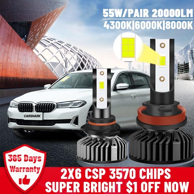 Carshark H7 Led Headlight Turbo 20000Lm H1 H4 Bulbs High Low Beam Hb3 Hb4 Lamps 4300K 6000K 8000K H8 H9 H11 9005 9006 Fog Lights 1