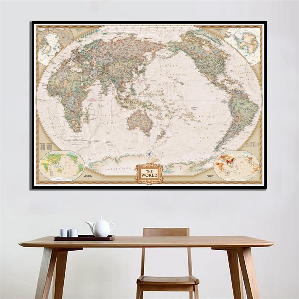 A2 Size HD Printed Vector Map World Physical Map Without Frame Fine Canvas Painting For Home Wall Decor