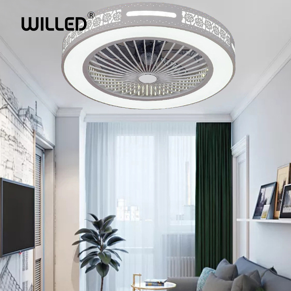 Ceiling Fan Lamp Remote Control Mobile Phone App Bluetooth Control With Lights Indoor Home Ceiling Fans Round Good Sleep 50 Cm