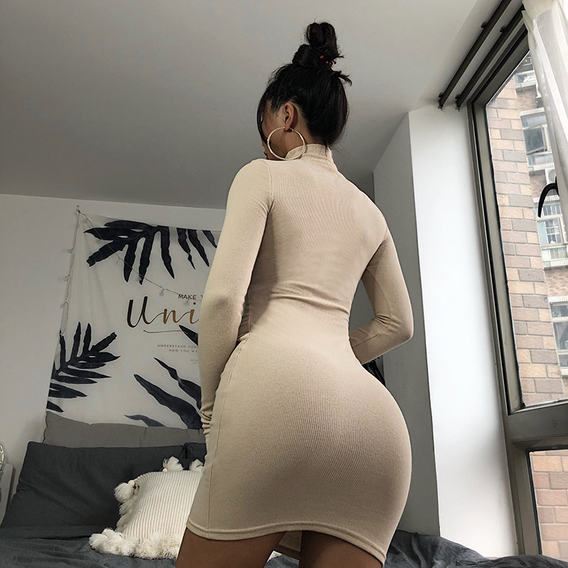 Cryptographic Ribbed turtleneck long sleeve winter dress women 19 fashion vestidos trend color slim sexy bodycon dresses 21