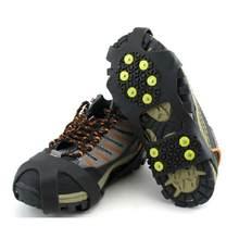 1 par 10 studs crampons anti-skid gelo gripper escalada inverno sapatos de neve capa picos tpr apertos botas chuteiras unissex acessórios