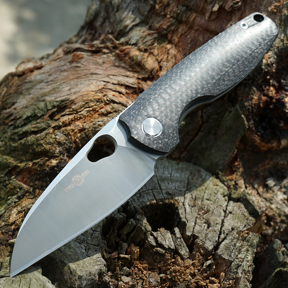 Tools : TWOSUN M390 blade folding Pocket Knife Camping knives tactical hunting outdoor tool Titanium EDC Carbon Fiber Fast Open TS129