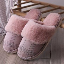 2019 New Non-slip Suede Quality Women Fur Home Slippers Winter Super Warm Indoor Plush House Slippers Comfortable floor Shoes