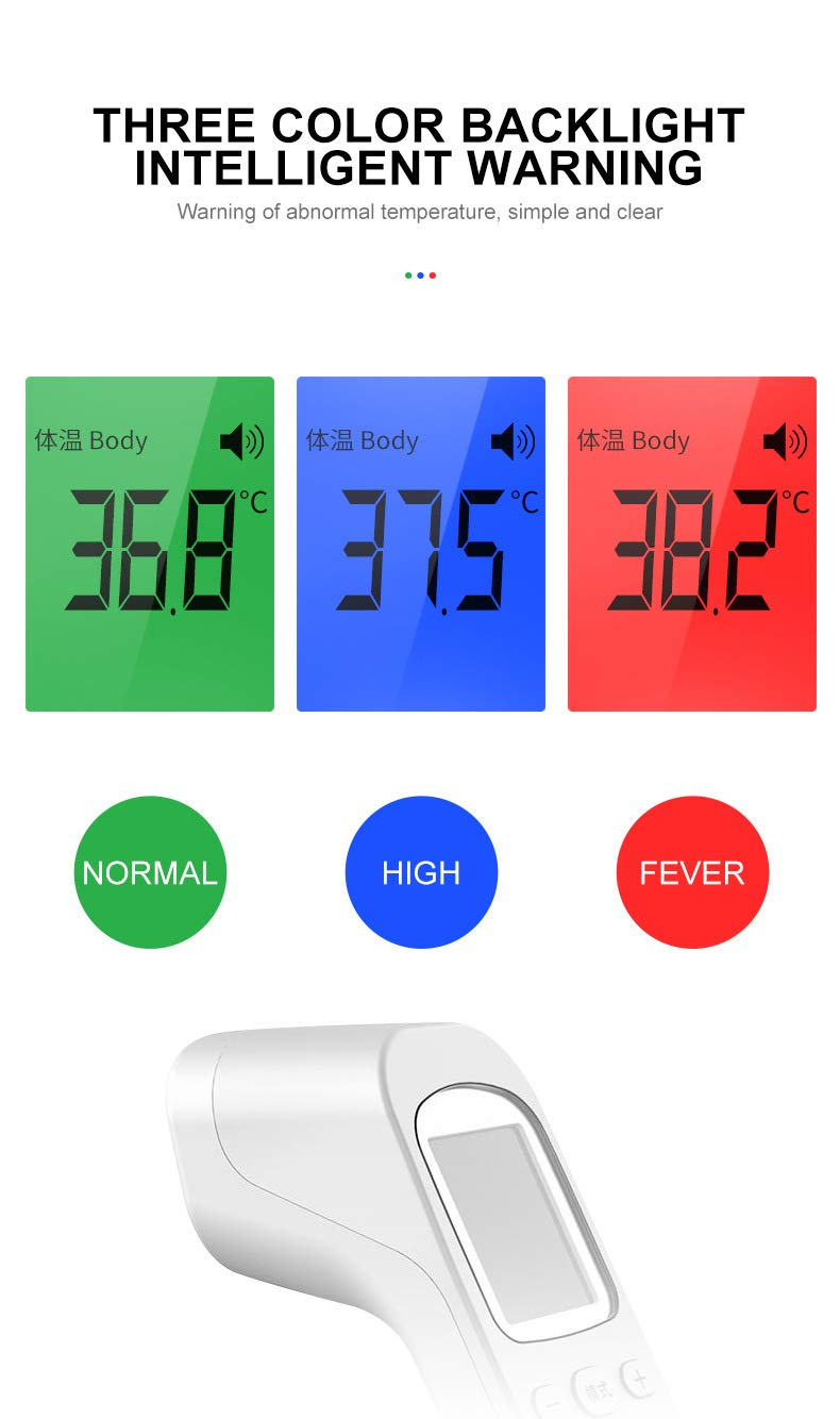 Infrared Forehead Digital Thermometer Gun IR Laser Non Contact Thermometer with 3 Color Backlight Display for Baby Adults Indoor 2