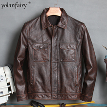 High Quality Vintage Genuine Leather Jacket Men Biker Jackets 100% Cowhide Coat Plus Size 4xl Spring 2021 Veste Homme Pph4405