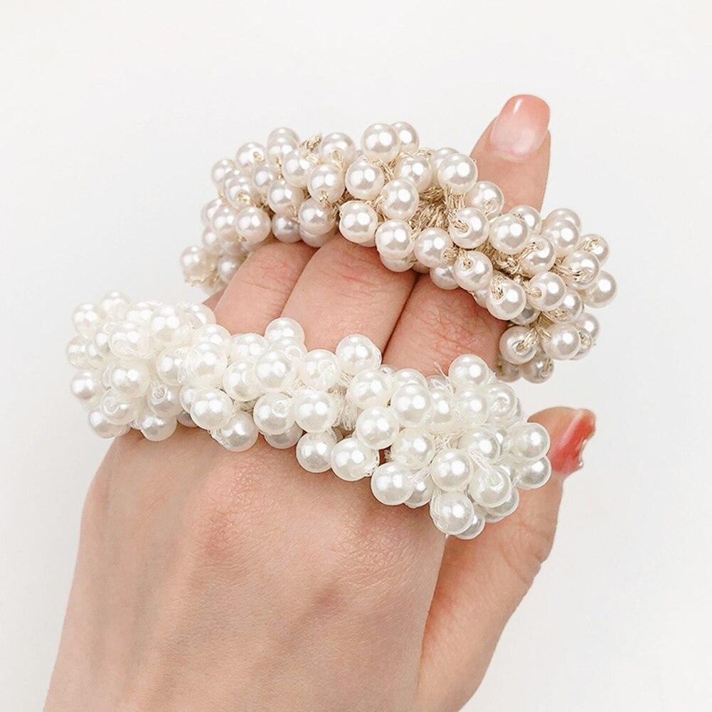 21 Colors Woman Elegant Pearl Hair Ties Beads Girls Scrunchies Rubber Bands Ponytail Holders Hair Accessories Elastic Hair Band