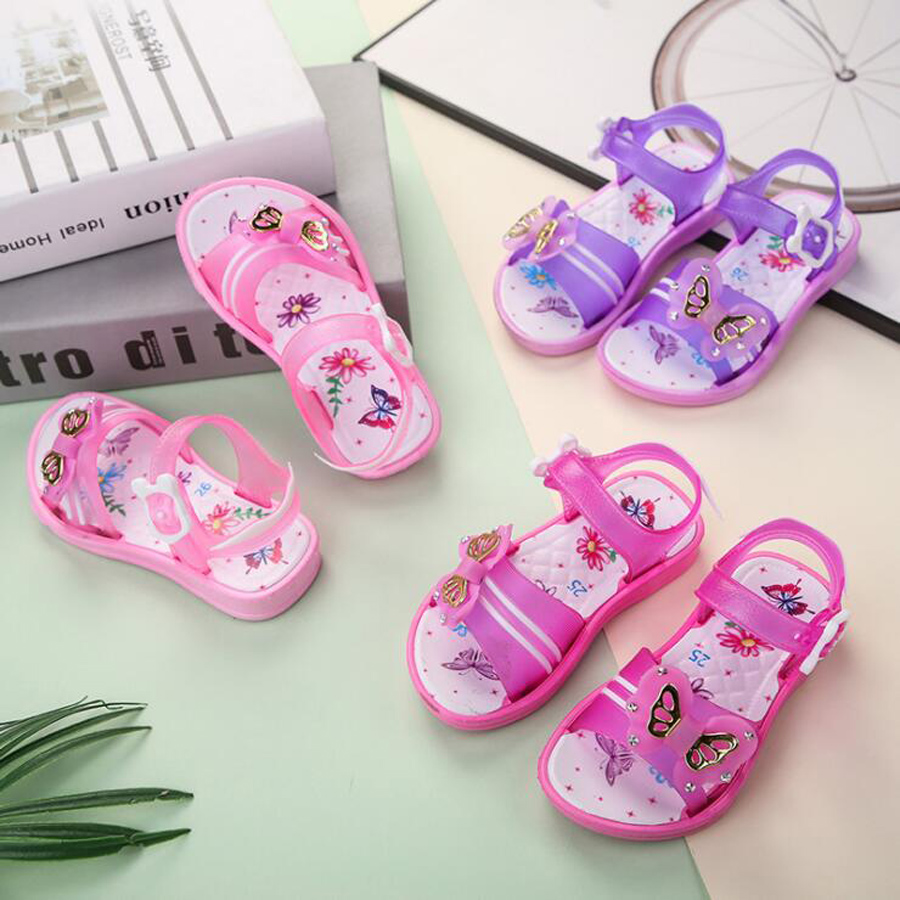 2020 Summer Children Sandals Girls Shoes Princess Beachwear Sandals Bow Hollow Beach Shoes Baby Flowers Plastic Student Sandals