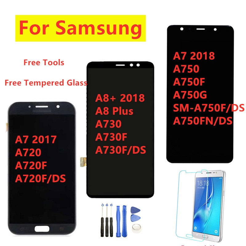 For <font><b>Samsung</b></font> A720 <font><b>A8</b></font>+ (2018) A730F 100% Test Lcd For <font><b>Samsung</b></font> Galaxy A7 2018 A750F LCD <font><b>Display</b></font> Touch <font><b>Screen</b></font> Digitizer Assembly image