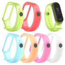 Colorful Clear Replacement Silicone Wrist Strap Watch Band For Xiaomi Mi 4 MiBand 3