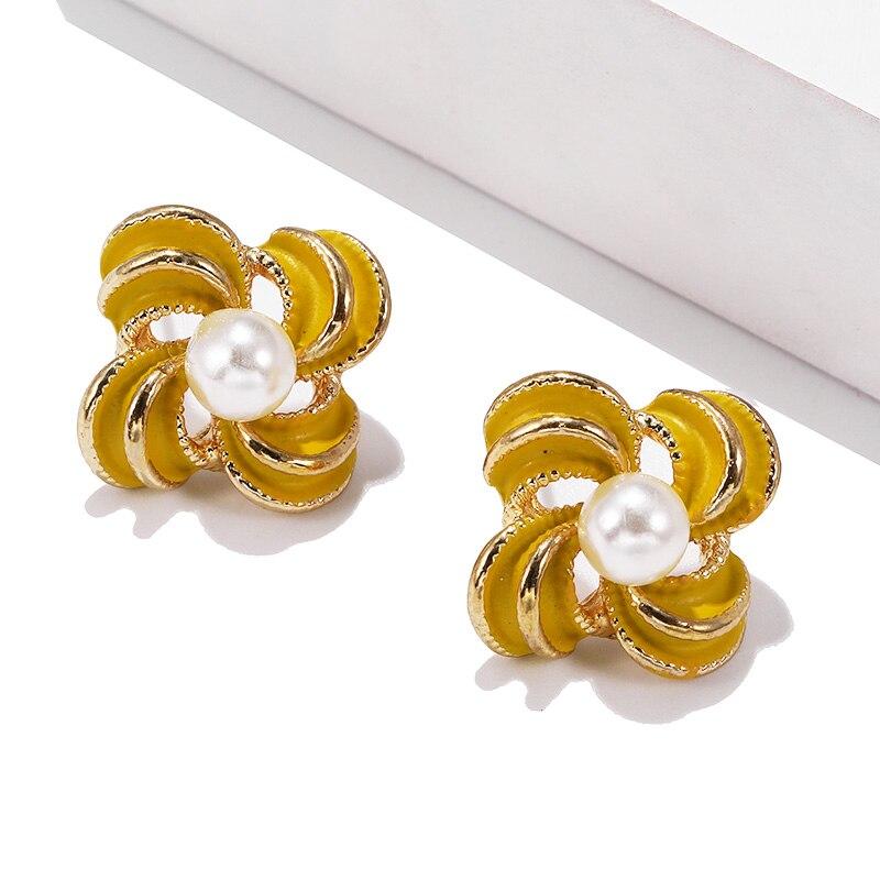С украшением в виде кристаллов серьги с подвеской в виде цветка для Для женщин ювелирные изделия двусторонняя золото; серебро; сережки подарок для вечерние best friend» A55 - Окраска металла: 305huang