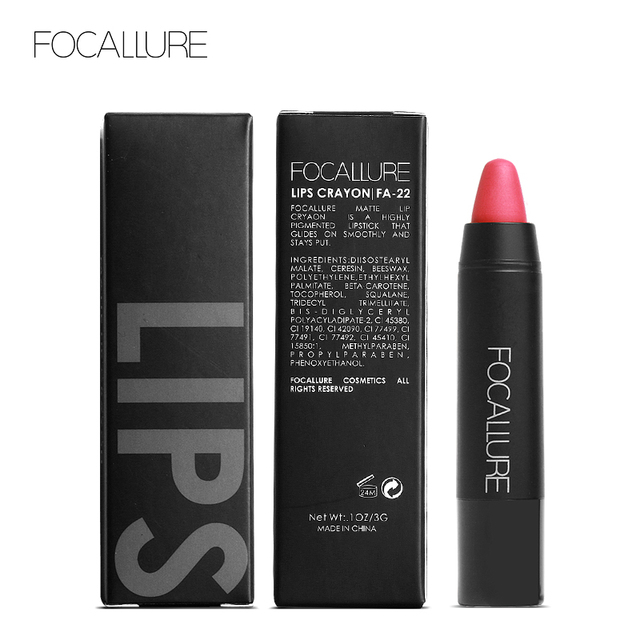 FOCALLURE Matte Crayon Lipstick Waterproof Long-lasting Professional Lipstick Nude Red Lips Tint Pigment 19 Colors Easy To Wear 4
