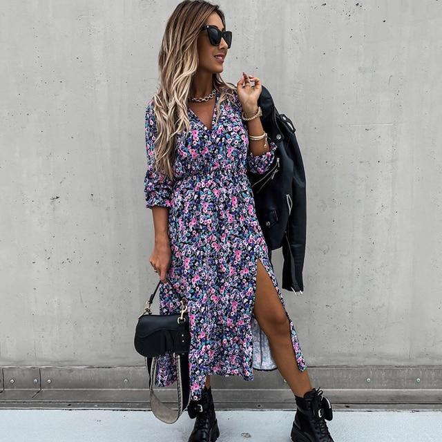 Autumn V Neck Long Floral Print Dress For Women 2021 Casual Long Sleeve Split Dress Female Boho Elegant Maxi Party Vestidos 1