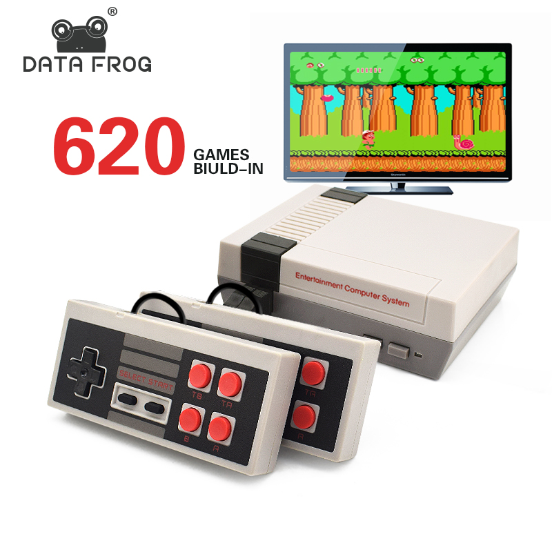 DATA FROG Mini TV Game Console 8 Bit Retro Video Game Console Built-In 620 Games with Dual Controllers Handheld Game Player(China)