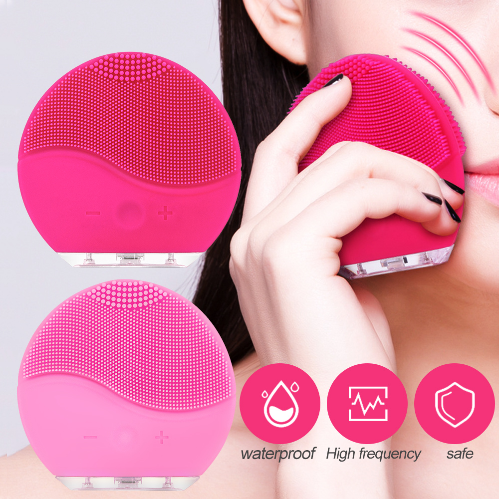 Ultrasonic Electric Facial Cleansing Brush Vibration Skin Remove Blackhead Pore Cleanser Waterproof Silicone Face Massager USB