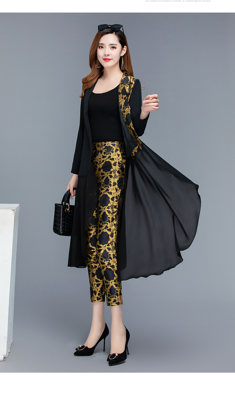 2019 Autumn Black Vintage Printed Two Piece Sets Outfits Women Plus Size Long Tops With Belt And Pants Suits Elegant Office Sets 44