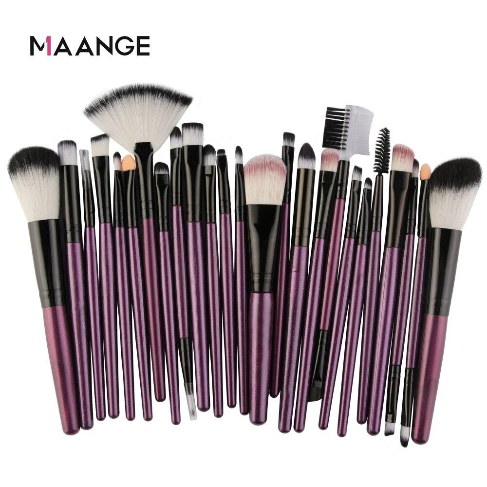 maange 25 pcs conjunto de escova de maquiagem profissional beleza fundacao blush po sombra mistura cilios