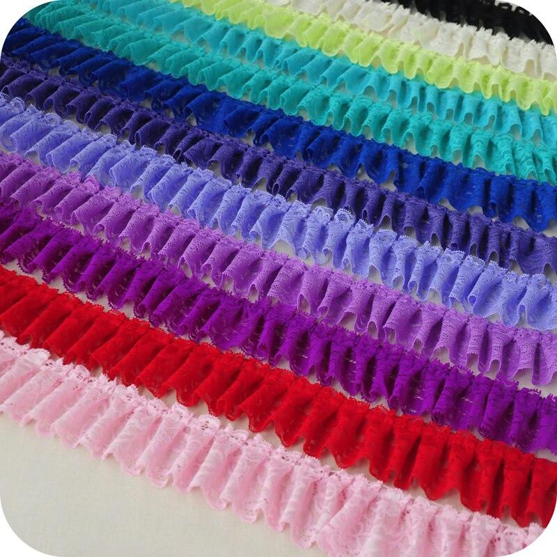 Fita plissada colorida do laço da tela de costura do vestuário de diy da guarnição do laço de 6cm