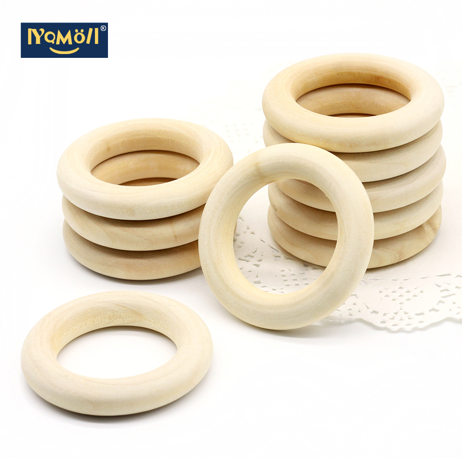 5pcs 70mm Baby Natural Teething Rings Wooden Necklace Bracelet DIY Crafts Unfinished Wood Rings DIY Crafts Baby Teether