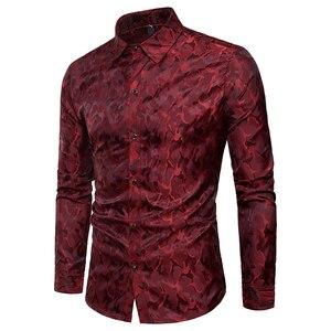 2018 новый модный бренд мужские ночной клуб платье рубашки для мальчиков высокое качество, Одноцветный, с рисунком рубашка с длинными рукавам...