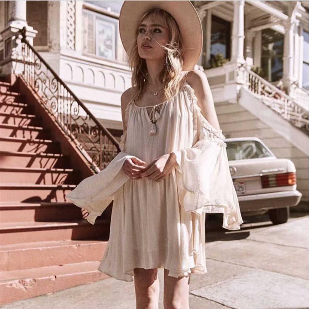 ZA חדש אביב נשים בז 'סטרפלס פרפר שרוול קלע שמלת חולצה אופנה סקסי סגנון נשי בגדים מזדמנים