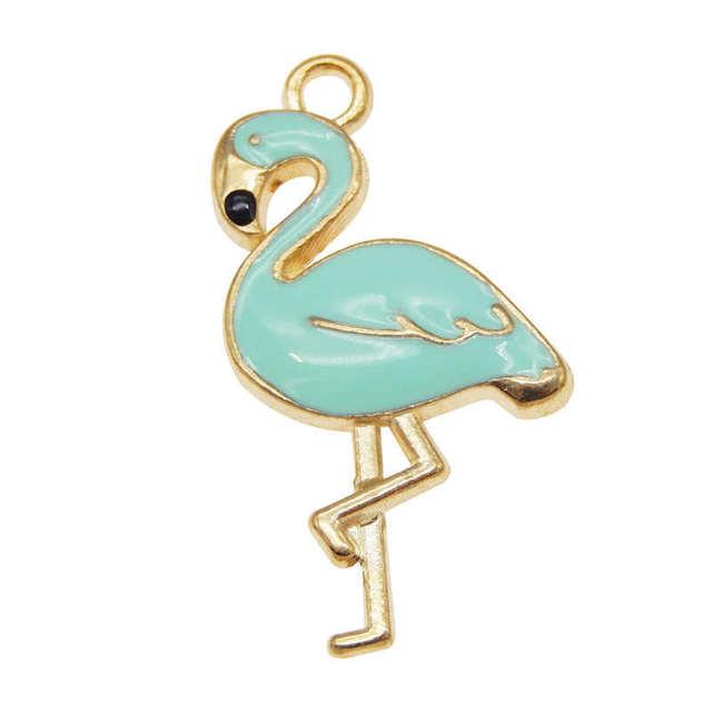 4pcs-enamel Blue flamingo charm-more colors