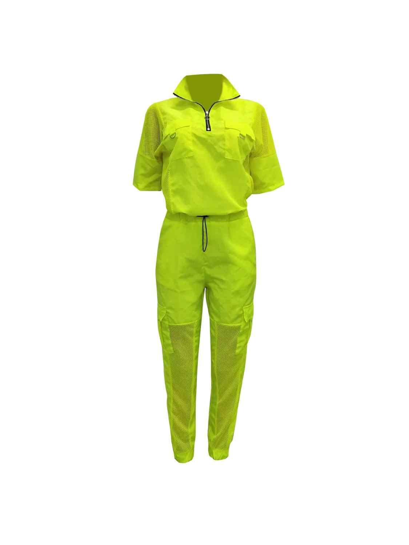 2020 Neon Grün 2 Zwei Stück Set Trainingsanzug Frauen Festival Kleidung Plus Größe Sommer Outfits Top + Hose Schweiß Anzug passenden Sets