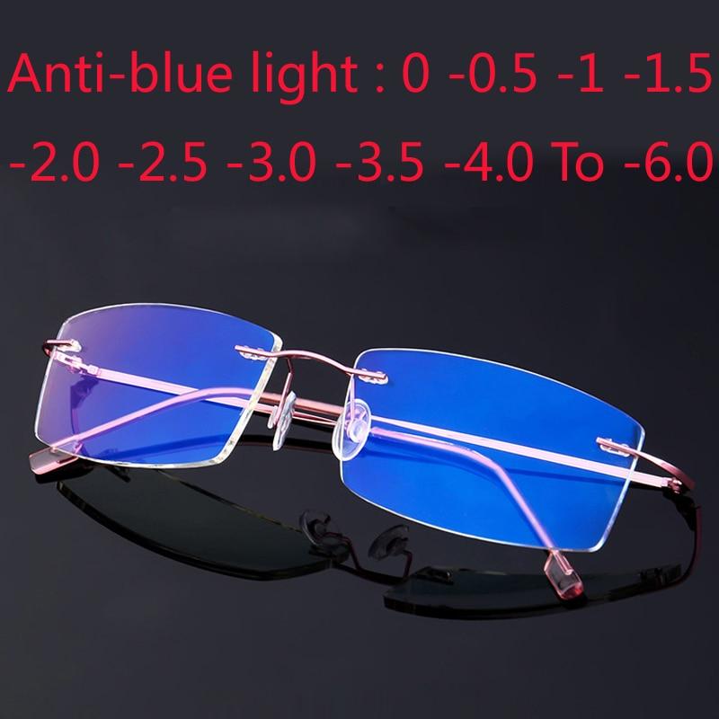 Alta calidad revestimiento sin marco gafas graduadas para miopía Anti-Luz Azul anteojos recetados 0-0,5-1-1,5-2-2,5-3 -4 -5 -6
