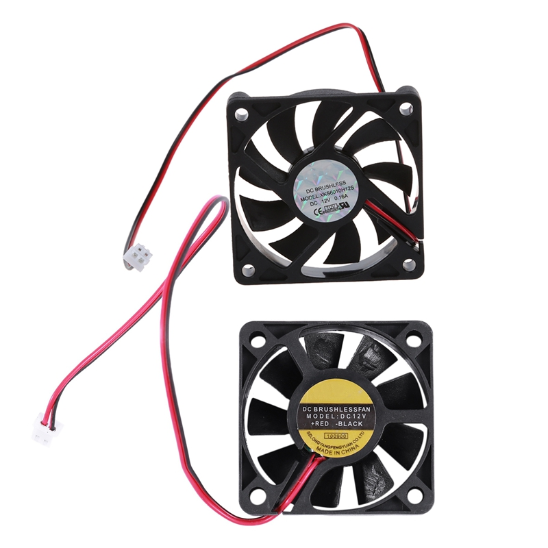 2 Pcs 5010 DC 12V 2Pin Brushless Cooling Fan 0.1A  50Mm & 0.16A 60Mm