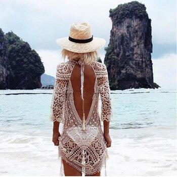 White Beach Dresses Women Swimwear Cover Up Tunic Bathing Suit Backless Lace Crochet Swimming Beach Wear women dress women beach lace crochet dresses swimwear bikini cover up hollow out beach wear tops ladies dresses sundress