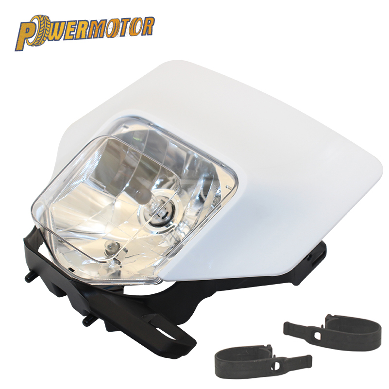PowerMotor Motorcycle White Supermoto Headlight Lamp Headlamp Head Light For KTM HUSQVARNA FE TE 2018 17 MX Dirt Bike Enduro