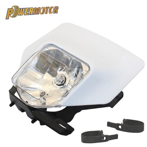 powermotor da motocicleta branco supermoto farol lampada cabeca luz para ktm husqvarna fe te 2018