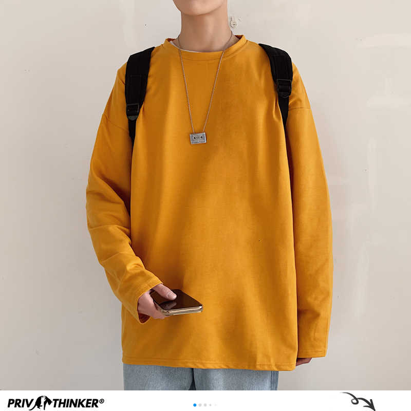 Privathinker 남자 여자 솔리드 tshirt 망 봄 2020 streetwear 풀 오버 t-셔츠 캐주얼 한국 긴 소매 t-셔츠 패션