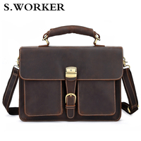 2020 Vintage Men's Genuine Leather Briefcase Cowhide Business Bag Cow Leather Laptop Double Layer Messenger Bag PC Work Tote