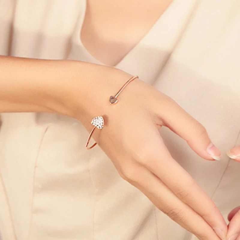 2019 quente nova moda ajustável cristal duplo coração arco bilezik manguito abertura pulseira para mulheres jóias presente mujer pulseras 7g