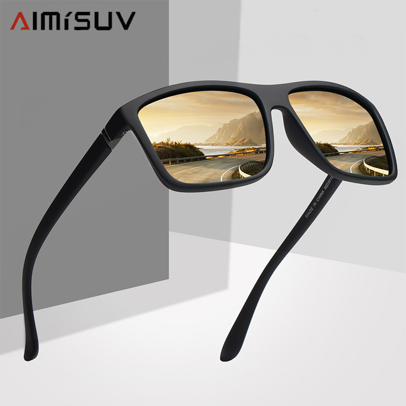 AIMISUV Polarized Square Men Sunglasses Brand Vintage Driving Sun Glasses Driver Safety Protect Eyes UV400 Eyewear