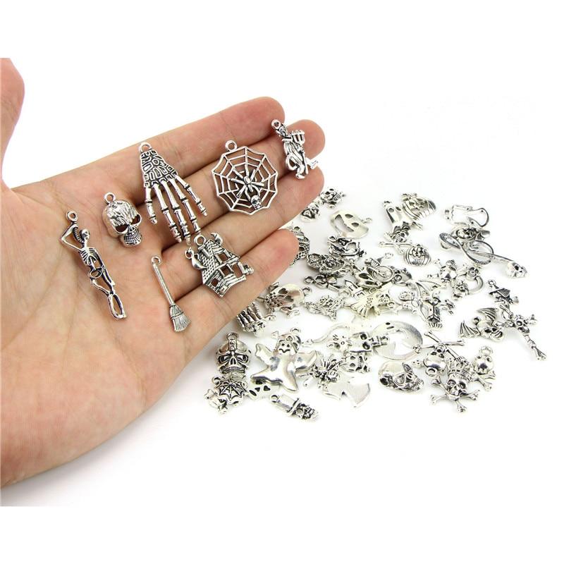 Pingentes de esqueleto de liga de metal, 20 pçs/lote, misto aleatório, dia das bruxas, pingentes para pulseira, achados, acessórios de joias