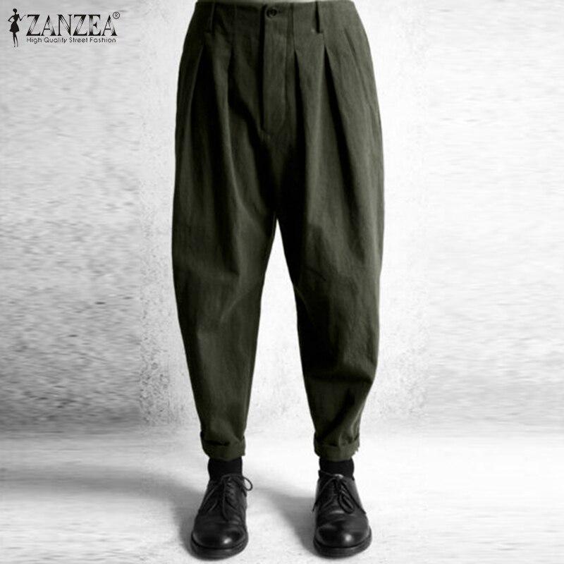 ZANZEA Women Casual Baggy Jogger Legging Long Trousers High Waist Pants Ladies
