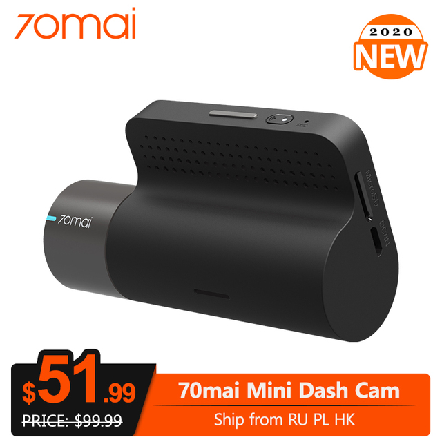 70mai كاميرا صغيرة داش الذكية جهاز تسجيل فيديو رقمي للسيارات كاميرا 1600P HD متفوقة للرؤية الليلية واي فاي G الاستشعار APP التحكم السيارات مسجل فيديو