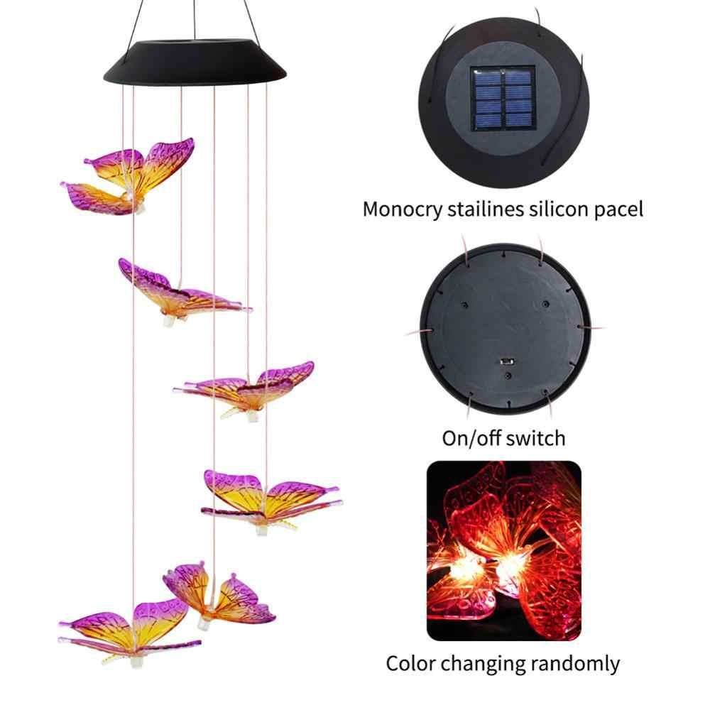 6LED พลังงานแสงอาทิตย์เปลี่ยน IP65 กันน้ำสีสันผีเสื้อลมระฆังโคมไฟสำหรับกลางแจ้งสวน YARD ตกแต่ง