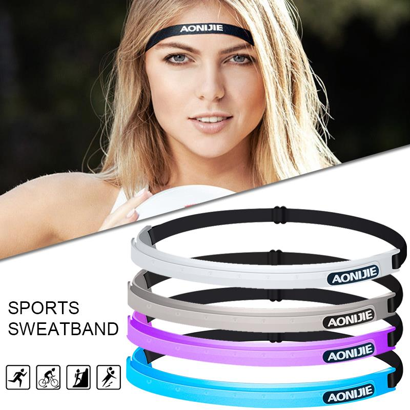 Silicone Adhesive Tape Headband Yoga Running Cycling Sweatband Strong Blue Gym Basketball 48-80cm