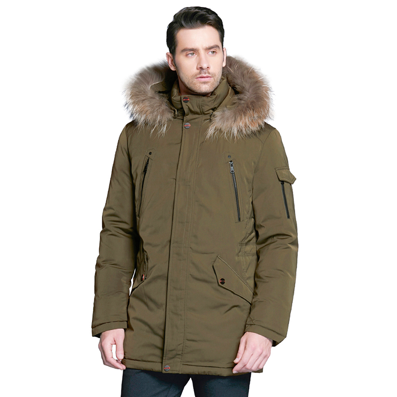 Фото - ICEbear 2019 Fashionable men's clothing with luxurious removable fur collar and comfortable cuffs winter jacket for men 17MD903D vogue pu leather embellished stand collar long sleeves ombre denim jacket for men